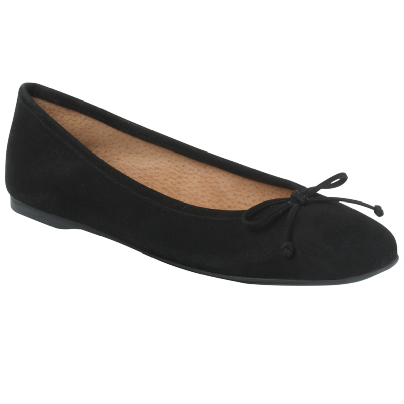 Prior Square Toe Ballerina Pumps, Black - predominant colour: black; material: leather; heel height: flat; embellishment: ribbon; toe: square toe; style: ballerinas / pumps