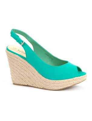 Peep Toe Espadrilles - predominant colour: mint green; material: faux leather; heel height: high; embellishment: buckles; ankle detail: ankle strap; heel: wedge; toe: open toe/peeptoe; style: slingbacks