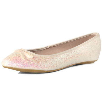 White Glitter Ballerina Pumps - predominant colour: white; material: fabric; heel height: flat; embellishment: glitter; toe: round toe; style: ballerinas / pumps
