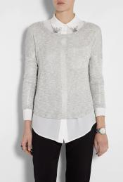 Silver Lurex Knit Long Sleeve Top - pattern: plain, metallic; predominant colour: light grey; occasions: casual; length: standard; style: top; neckline: scoop; fibres: polyester/polyamide - mix; material texture: metallic; fit: body skimming; sleeve length: long sleeve; sleeve style: standard; pattern type: fabric; pattern size: standard