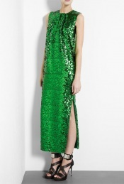 Emerald Green Amukaji Sequin Maxi Dress - neckline: round neck; pattern: plain; sleeve style: sleeveless; style: maxi dress; length: ankle length; predominant colour: emerald green; occasions: evening, occasion; fit: body skimming; fibres: polyester/polyamide - 100%; material texture: metallic; hip detail: slits at hip; trends: aquatic; sleeve length: sleeveless; pattern type: fabric; pattern size: standard; embellishment: sequins