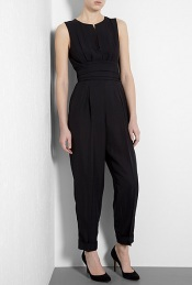 Black Karman Jumpsuit With Cumberbund - waist detail: drop waist, wide waistband/cummerbund; predominant colour: black; occasions: casual, evening; length: ankle length; fit: body skimming; fibres: polyester/polyamide - 100%; texture group: structured shiny - satin/tafetta/silk etc.; style: jumpsuit