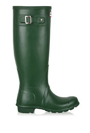 Green Original Tall Classic Boots - predominant colour: emerald green; material: plastic/rubber; heel height: flat; embellishment: buckles; heel: standard; toe: round toe; boot length: mid calf; style: wellies