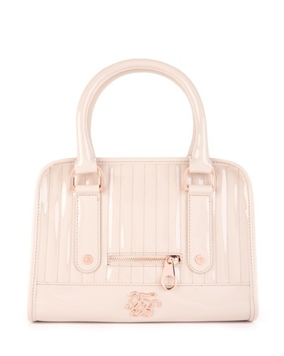 Ted Baker   Woody   Bowler Bag - predominant colour: ivory; style: bowling; length: handle; size: small; material: patent; embellishment: zips; pattern: plain; finish: patent