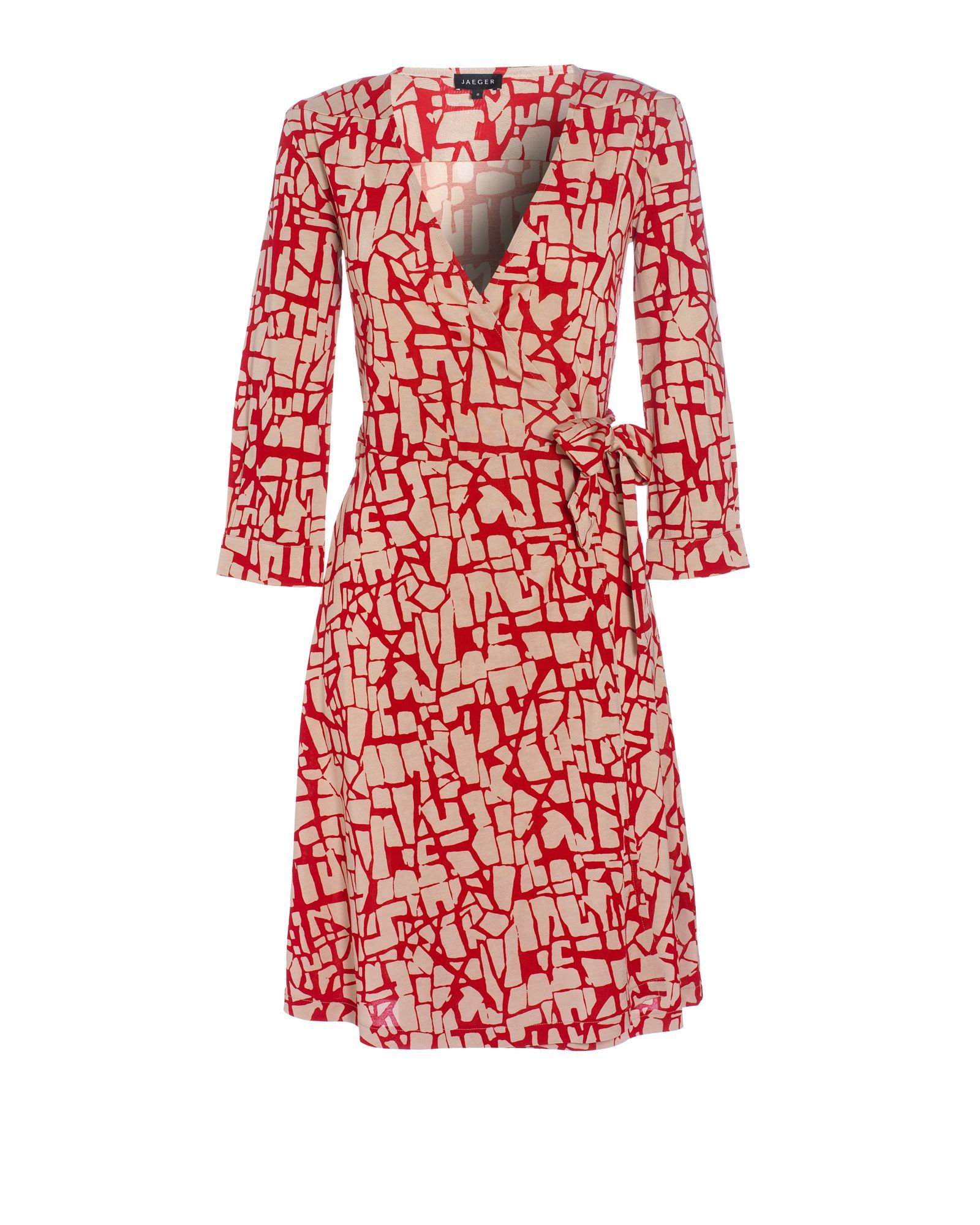 Women's Printed Jersey 3/4 Sleeve Wrap Dress, Red - style: faux wrap/wrap; neckline: v-neck; pattern: print, patterned/print; waist detail: belted waist/tie at waist/drawstring; predominant colour: true red; occasions: casual, work; length: just above the knee; fit: body skimming; fibres: polyester/polyamide - 100%; material texture: jersey; trends: prints; sleeve length: 3/4 length; sleeve style: standard; pattern type: fabric; pattern size: standard; texture group: jersey - stretchy/drapey