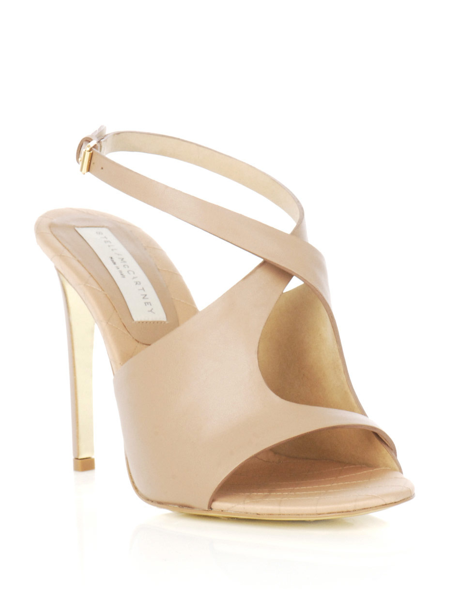 Cut Away Sandals - predominant colour: nude; material: faux leather; heel height: high; embellishment: buckles; ankle detail: ankle strap; heel: stiletto; toe: open toe/peeptoe; style: strappy