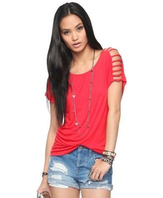 Strappy Shoulder Tunic - pattern: plain; style: t-shirt; predominant colour: hot pink; occasions: casual; length: standard; neckline: scoop; fibres: polyester/polyamide - 100%; material texture: jersey; fit: loose; shoulder detail: added shoulder detail, multiple straps/strappy shoulder detail, cut out shoulder; trends: brights; sleeve length: short sleeve; sleeve style: standard; pattern type: fabric; pattern size: standard; texture group: jersey - stretchy/drapey