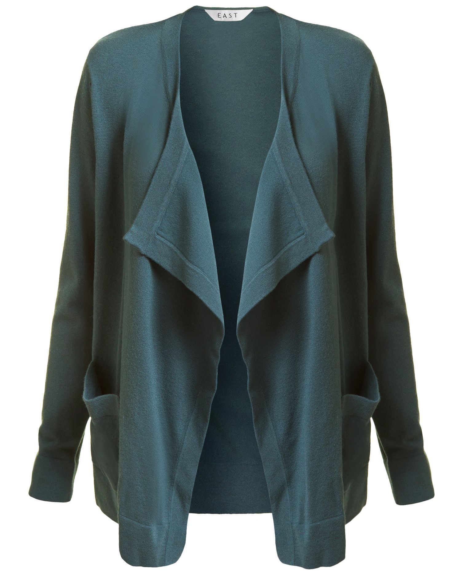 Women&#x27;s New Ros Pocket Cardigan, Aqua - pattern: plain; neckline: waterfall neck; hip detail: side pockets at hip, front pockets at hip; length: below the bottom; predominant colour: teal; occasions: casual; style: standard; fibres: polyester/polyamide - stretch; material texture: jersey; trends: aquatic; sleeve length: long sleeve; sleeve style: standard; pattern type: knitted - other; pattern size: standard; texture group: jersey - stretchy/drapey