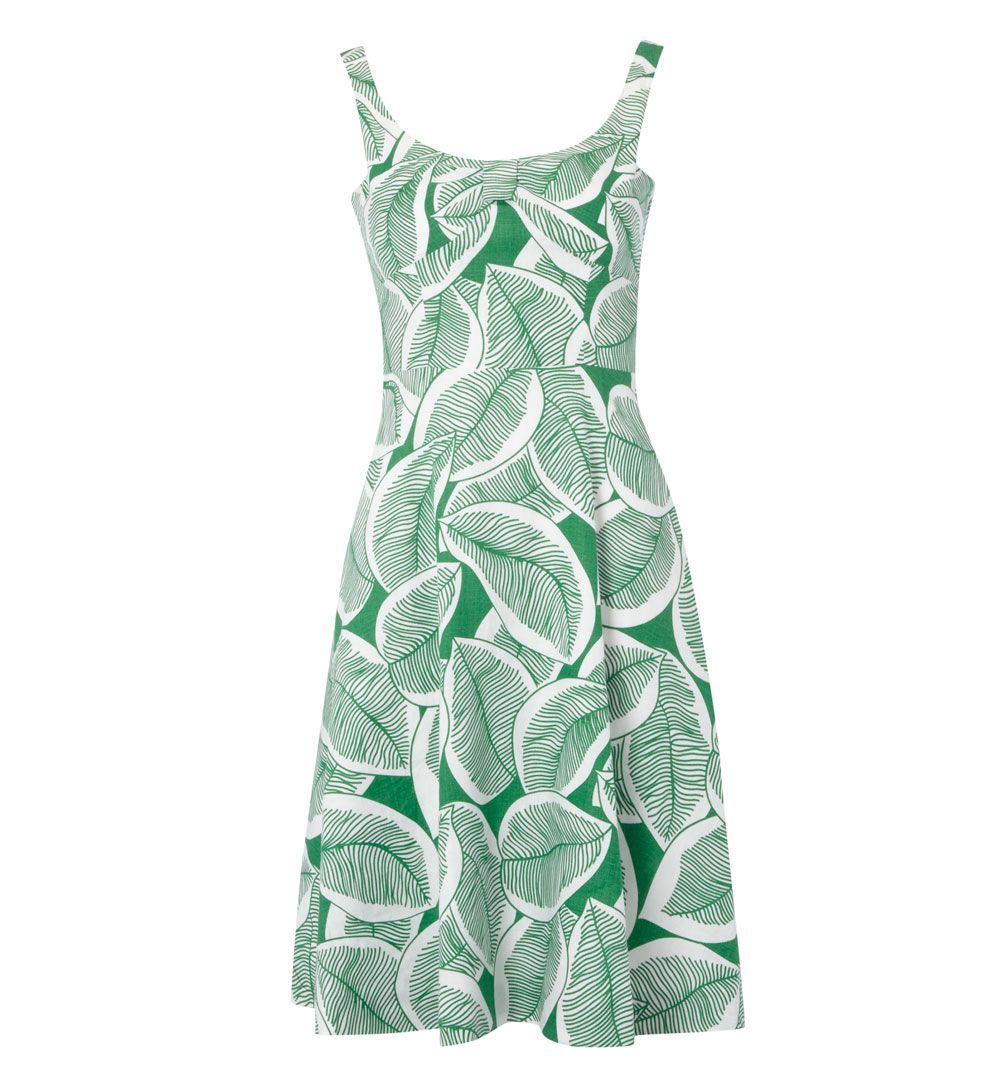 Women's Adelaide Dress, Multi Coloured - style: a-line; fit: fitted at waist; sleeve style: sleeveless; pattern: print, patterned/print; predominant colour: emerald green; occasions: casual, occasion; length: on the knee; neckline: scoop; fibres: linen - 100%; material texture: calico; trends: prints; sleeve length: sleeveless; texture group: cotton feel fabrics; pattern type: fabric; pattern size: standard