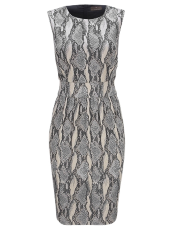 Snake Jacquard Dress, Grey - style: shift; neckline: round neck; pattern: heavily patterned, print, patterned/print; sleeve style: sleeveless; waist detail: fitted waist; predominant colour: mid grey; occasions: casual, work; length: on the knee; fit: body skimming; fibres: cotton - mix; material texture: jersey; trends: prints; sleeve length: sleeveless; pattern type: fabric; pattern size: big &amp; busy; texture group: jersey - stretchy/drapey