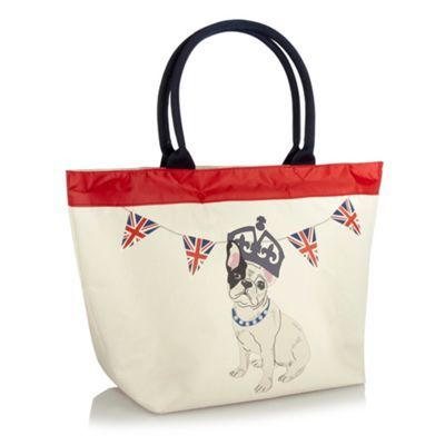 Natural Dog Printed Tote Bag - predominant colour: ivory; style: tote; length: shoulder (tucks under arm); size: standard; material: fabric; embellishment: print; pattern: plain, patterned/print