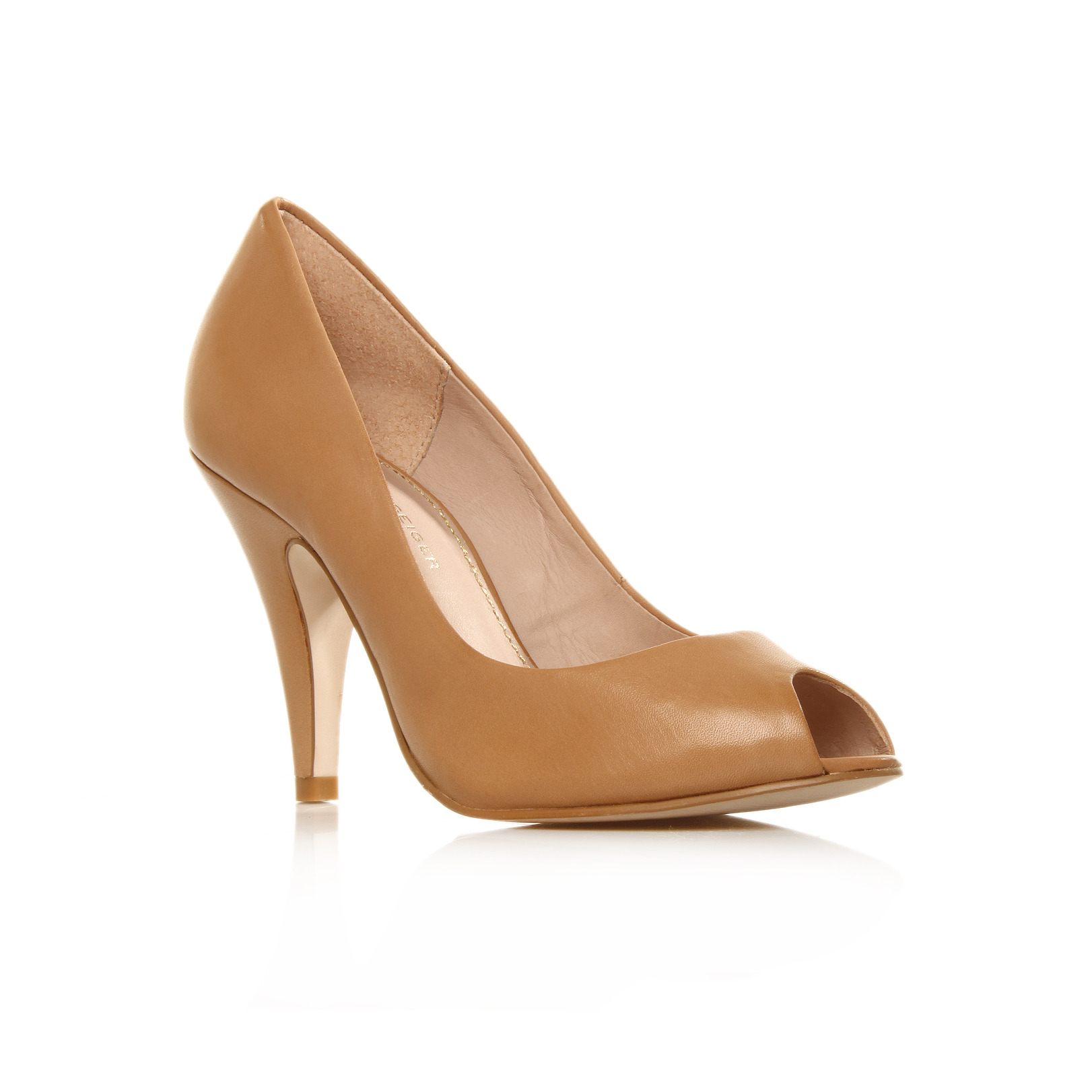 Audrina - predominant colour: camel; material: leather; heel height: high; heel: stiletto; toe: open toe/peeptoe; style: courts