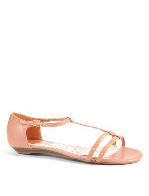 Wide Fit Apricot Studded Strap Flat Sandals - predominant colour: coral; material: faux leather; heel height: flat; embellishment: buckles, studs; ankle detail: ankle strap; heel: standard; toe: open toe/peeptoe; style: strappy