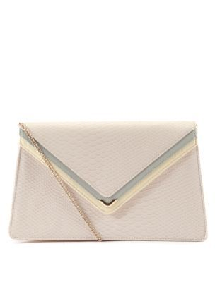 Shell Pink Envelope Top Clutch - predominant colour: ivory; type of pattern: small; style: clutch; length: hand carry; size: small; material: animal skin; embellishment: animal print; pattern: animal print