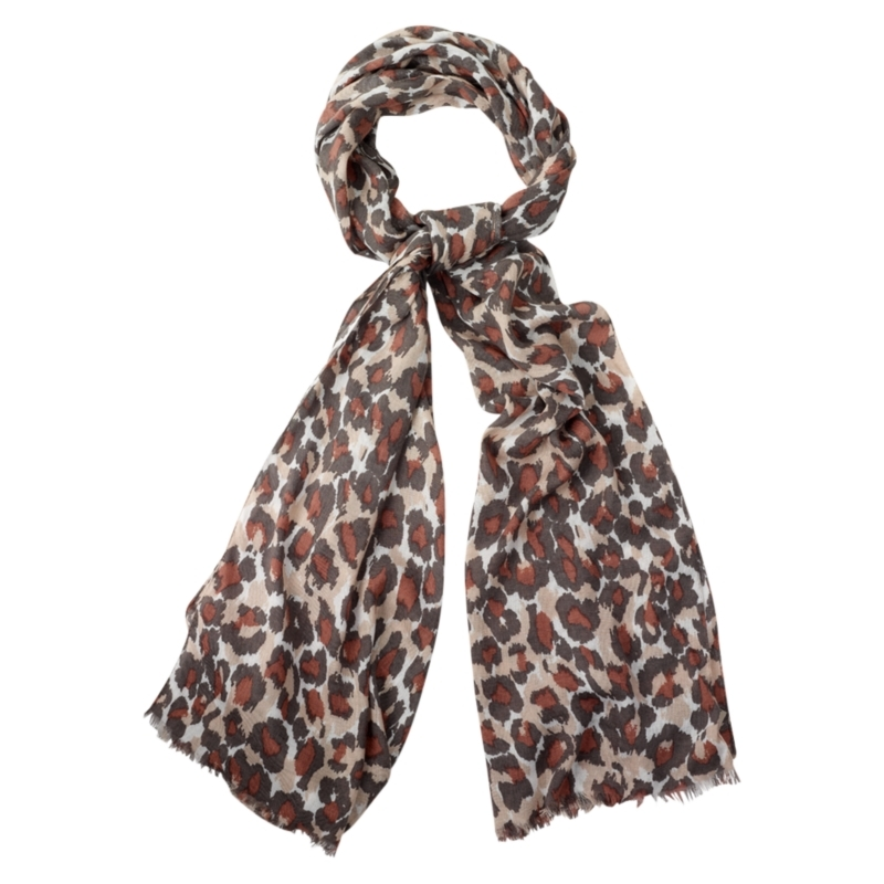Leopard Print Scarf, Clay - predominant colour: chocolate brown; type of pattern: heavy; style: regular; size: standard; material: fabric; pattern: animal print
