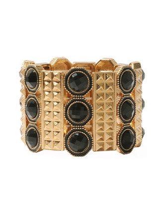 Lacquered Pyramid Bracelet - predominant colour: gold; style: bangle; size: large/oversized; material: metal