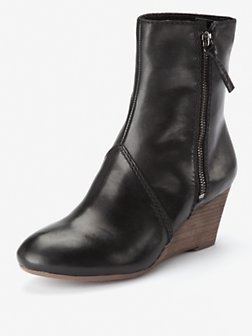 Master Game Leather Wedge Boots, Black - predominant colour: black; material: leather; heel height: mid; embellishment: zips; heel: wedge; toe: round toe; boot length: ankle boot; style: standard