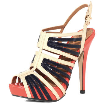 Off White Platform Sandal - predominant colour: multicoloured; material: leather; heel height: high; ankle detail: ankle strap; heel: platform; toe: open toe/peeptoe; style: strappy