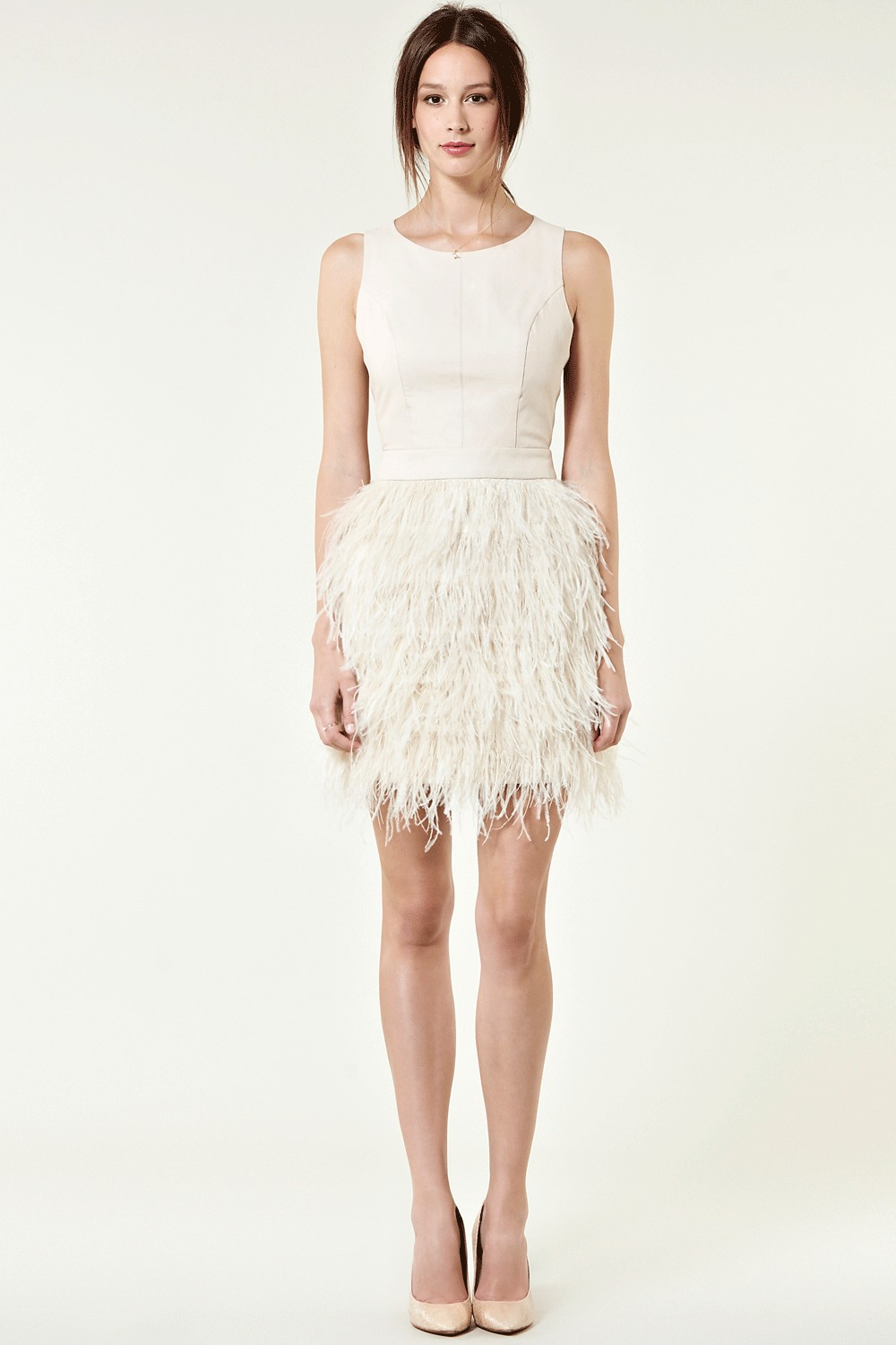 Feather And Leather Dress - style: shift; length: mid thigh; neckline: round neck; pattern: plain, lightly patterned, patterned/print; sleeve style: sleeveless; waist detail: fitted waist; predominant colour: ivory; occasions: evening, occasion; fit: body skimming; fibres: leather - 100%; material texture: jersey; hip detail: added detail/embellishment at hip; sleeve length: sleeveless; pattern type: fabric; pattern size: small & light; texture group: jersey - stretchy/drapey