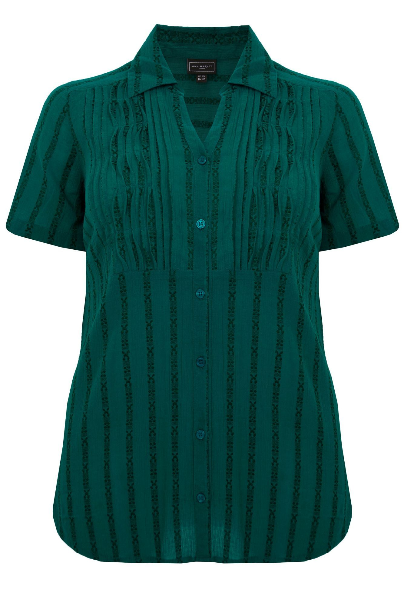 Women's Teal Pintuck Blouse, Teal - neckline: shirt collar/peter pan/zip with opening; sleeve style: capped; pattern: plain, striped; style: blouse; predominant colour: dark green; occasions: casual, work; length: standard; fibres: cotton - mix; material texture: jersey; fit: body skimming; sleeve length: short sleeve; pattern type: fabric; pattern size: standard; texture group: jersey - stretchy/drapey