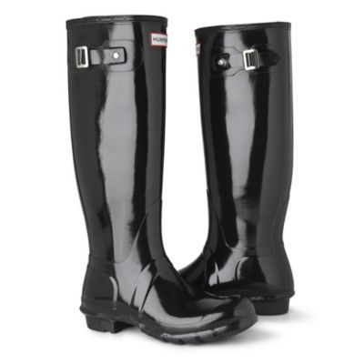 Original Gloss Wellies - predominant colour: black; material: plastic/rubber; heel height: flat; embellishment: buckles; heel: block; toe: round toe; boot length: knee; style: wellies
