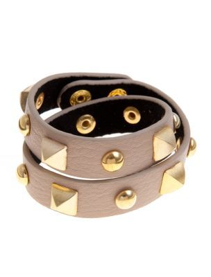 Cream Gold Studded Wrap Bracelet - predominant colour: stone; style: cuff; size: standard; material: leather