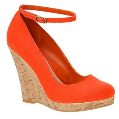 Orange Cork Look Wedge Heeled Shoes - predominant colour: bright orange; material: fabric; heel height: high; ankle detail: ankle strap; heel: wedge; toe: round toe; style: courts