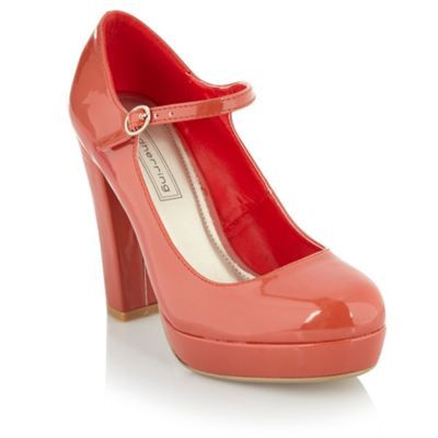 Orange Block Heel Court Shoes - predominant colour: bright orange; material: patent; heel height: high; embellishment: buckles; ankle detail: ankle strap; heel: platform; toe: round toe; style: courts; finish: patent
