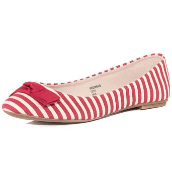 Red And White Stripe Pumps - predominant colour: true red; material: fabric; heel height: flat; embellishment: print, ribbon; toe: round toe; style: ballerinas / pumps; pattern: patterned/print