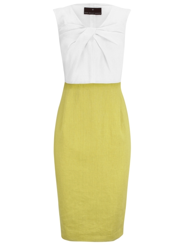 Twist Front Dress, Lime - style: shift; neckline: round neck; sleeve style: sleeveless; waist detail: fitted waist; hip detail: fitted at hip; bust detail: knot twist front detail at bust; predominant colour: lime; occasions: casual, occasion; length: on the knee; fit: body skimming; fibres: linen - 100%; material texture: jersey; sleeve length: sleeveless; texture group: jersey - stretchy/drapey