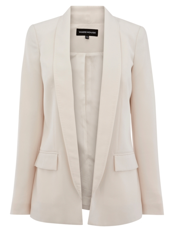 Crepe Longline Jacket, Cream - pattern: plain; collar: shawl/waterfall; length: below the bottom; style: tailored/fitted; predominant colour: ivory; occasions: work, occasion; fit: tailored/fitted; fibres: polyester/polyamide - 100%; material texture: sateen; trends: white; sleeve length: long sleeve; sleeve style: standard; texture group: structured shiny - satin/tafetta/silk etc.; pattern type: fabric; pattern size: standard