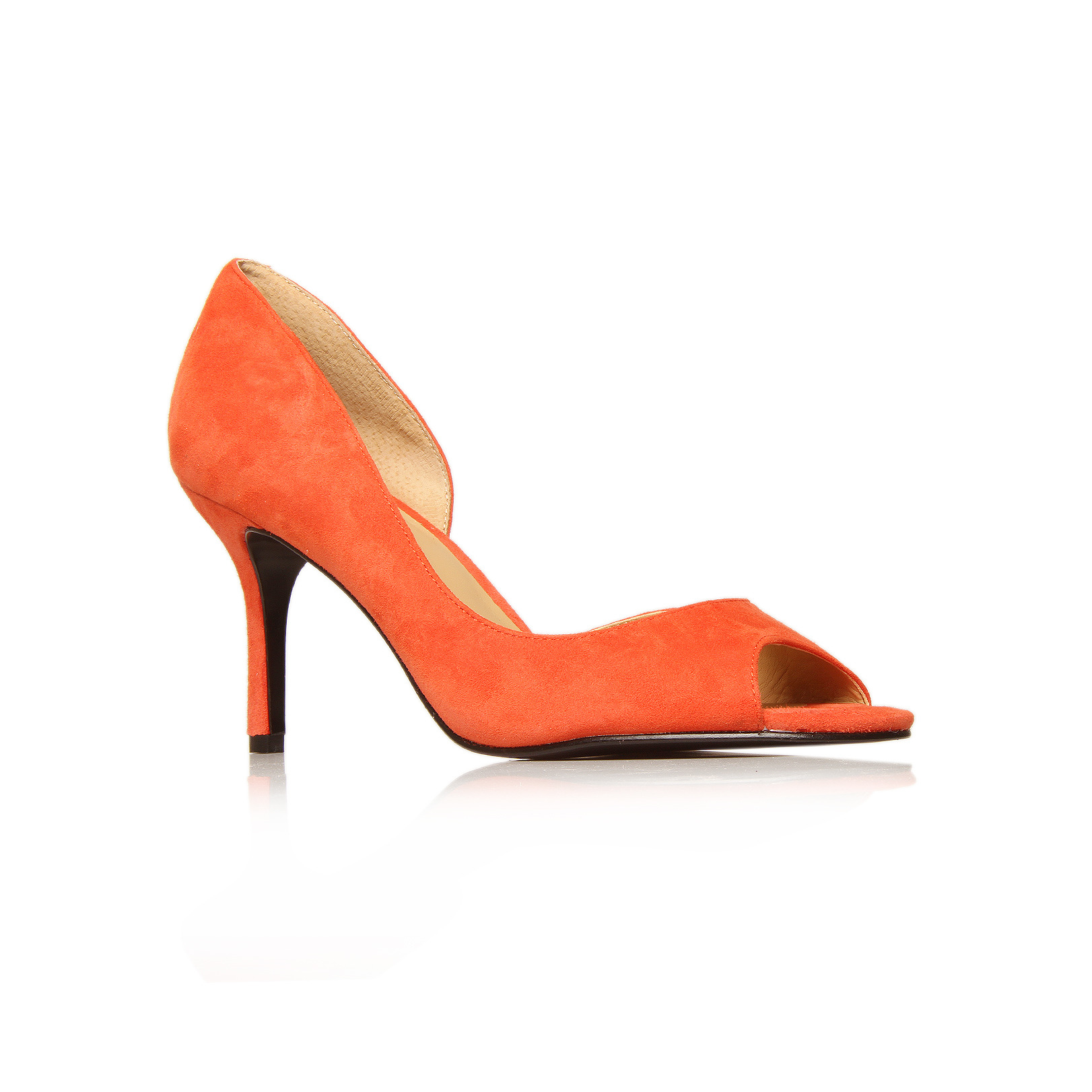 Geezup - predominant colour: bright orange; material: faux leather; heel height: high; heel: stiletto; toe: open toe/peeptoe; style: courts