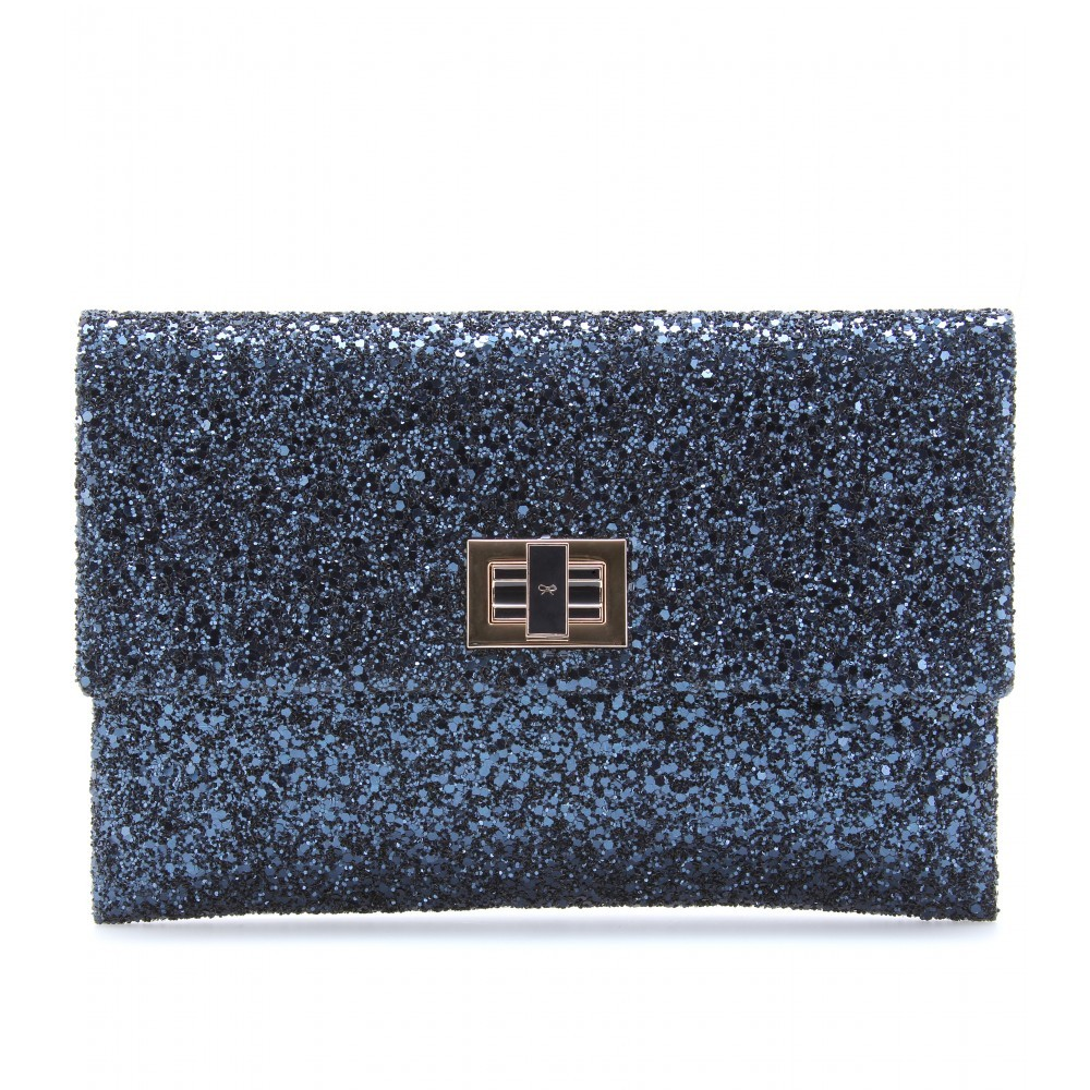 Valorie Glitter Clutch - predominant colour: navy; style: clutch; length: hand carry; size: small; material: leather; embellishment: glitter; pattern: plain