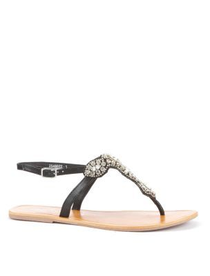 Black Diamante Embellished Strap Sandals - predominant colour: black; material: faux leather; heel height: flat; embellishment: buckles, crystals, jewels; ankle detail: ankle strap; heel: standard; toe: toe thongs; style: strappy