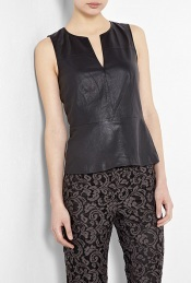 Leather Peplum Top - neckline: round neck; pattern: plain; sleeve style: sleeveless; waist detail: fitted waist, peplum waist detail; predominant colour: black; occasions: casual, evening, work; length: standard; style: top; fibres: leather - 100%; material texture: jersey; fit: tailored/fitted; sleeve length: sleeveless; pattern type: fabric; pattern size: standard; texture group: jersey - stretchy/drapey