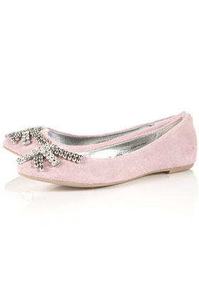 Mime Diamante Pointed Shoes - predominant colour: blush; material: suede; heel height: flat; embellishment: crystals, jewels, studs; toe: round toe; style: ballerinas / pumps