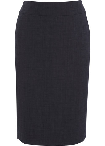 Navy End On End Skirt - length: below the knee; pattern: plain; style: pencil; fit: tailored/fitted; waist detail: fitted waist, wide waistband/cummerbund; waist: high rise; hip detail: fitted at hip; predominant colour: navy; occasions: evening, work; fibres: wool - mix; material texture: jersey; trends: 1950's, aquatic; pattern type: fabric; pattern size: standard; texture group: jersey - stretchy/drapey