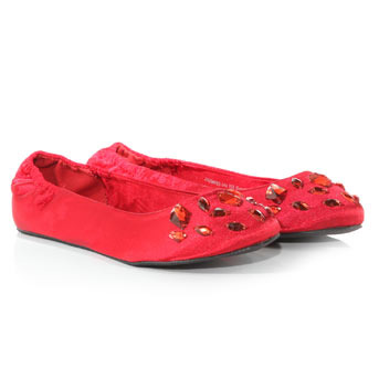 Red Jewel Foldable Pumps - predominant colour: true red; material: satin; heel height: flat; embellishment: beading, jewels; toe: round toe; style: ballerinas / pumps