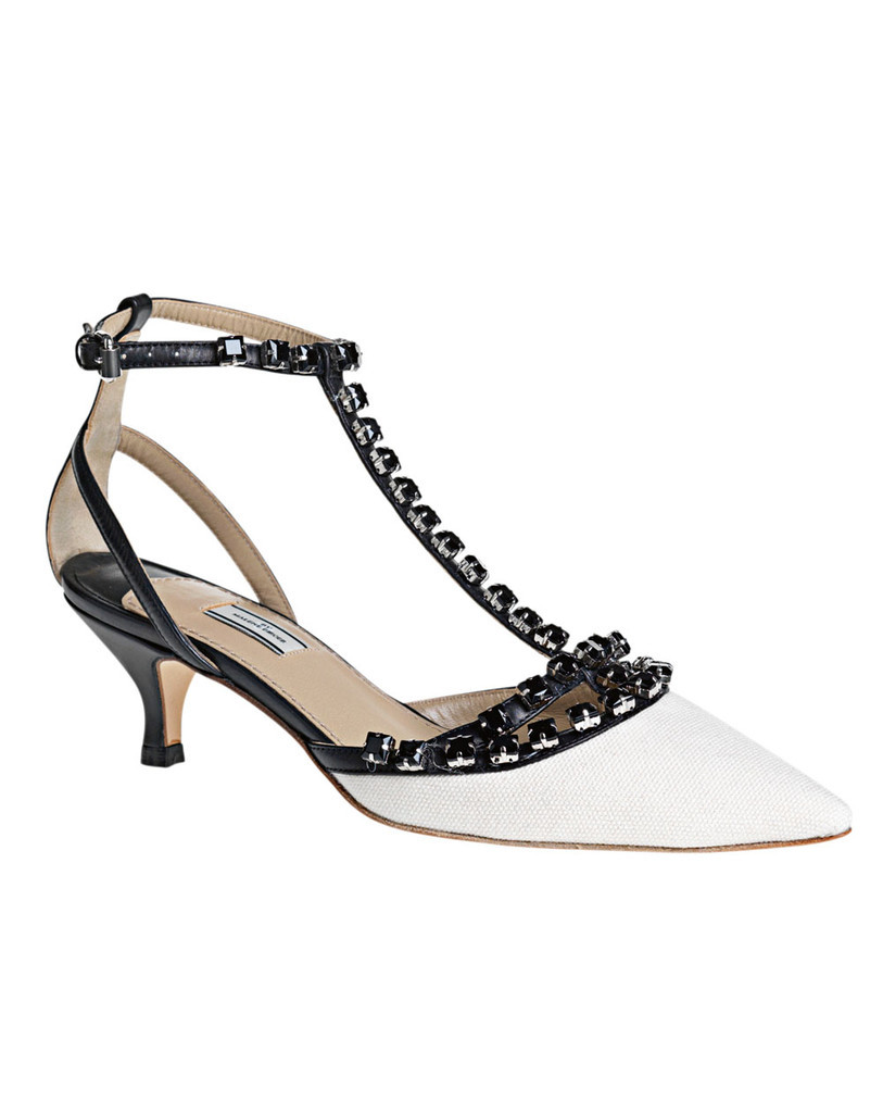 Dasila Shoe Vanilla Cream - predominant colour: ivory; material: leather; heel height: mid; embellishment: buckles, crystals, jewels, studs; ankle detail: ankle strap; heel: kitten; toe: pointed toe; style: t-bar