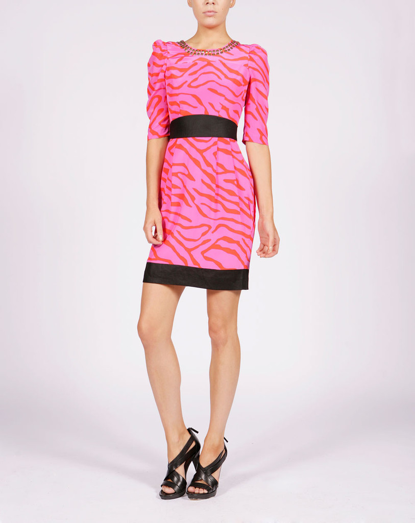 Roma Dress Pink Zebra - style: shift; neckline: round neck; sleeve style: puffed; waist detail: fitted waist, wide waistband/cummerbund; pattern: big animal print, animal print; shoulder detail: tiers/frills/ruffles; hip detail: fitted at hip; predominant colour: pink; occasions: casual, occasion; length: just above the knee; fit: fitted at waist & bust; fibres: silk - 100%; material texture: satin; trends: prints; sleeve length: 3/4 length; texture group: structured shiny - satin/tafetta/silk etc.; pattern type: fabric; pattern size: big & busy