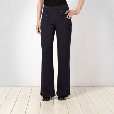 Navy Woven Palazzo Trousers - length: standard; style: palazzo; waist detail: fitted waist; waist: high rise; predominant colour: navy; occasions: casual, evening, work; fibres: polyester/polyamide - 100%; material texture: sateen; hip detail: added detail/embellishment at hip, embellishment at hips; texture group: structured shiny - satin/tafetta/silk etc.; fit: baggy