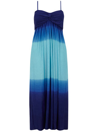Samya Dip Dye Maxi Dress - sleeve style: spaghetti straps; style: maxi dress; pattern: two-tone, tie dye; length: ankle length; waist detail: fitted waist, twist front waist detail/nipped in at waist on one side/soft pleats/draping/ruching/gathering waist detail; neckline: sweetheart; bust detail: ruching/gathering/draping/layers/pintuck pleats at bust, knot twist front detail at bust; predominant colour: royal blue; occasions: casual, evening, occasion; fit: body skimming; fibres: polyester/polyamide - stretch; material texture: jersey; hip detail: soft pleats at hip/draping at hip/flared at hip; trends: prints, aquatic; sleeve length: sleeveless; pattern type: fabric; pattern size: standard; texture group: jersey - stretchy/drapey