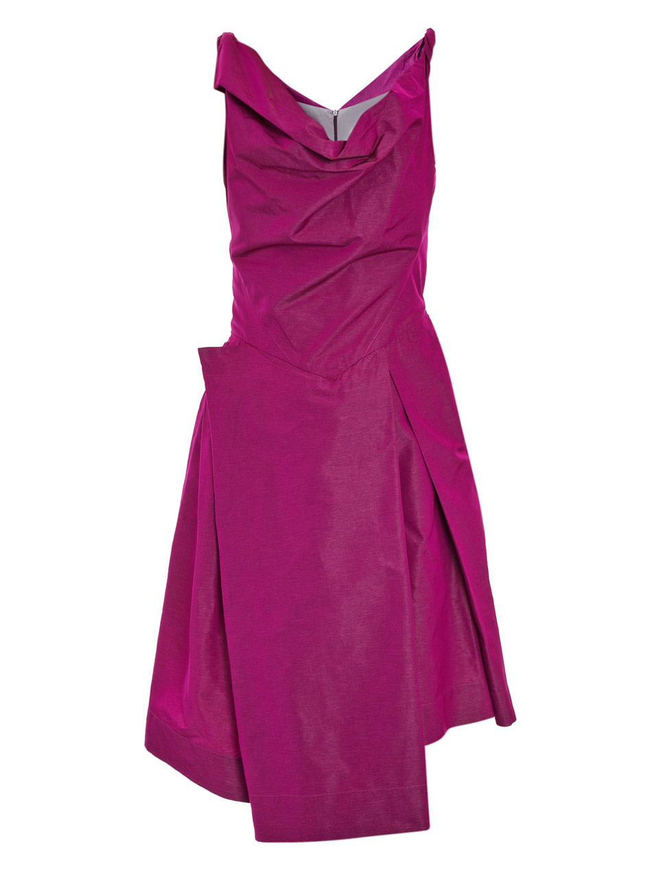 Boeing Taffeta Dress - length: below the knee; neckline: cowl/draped neck; pattern: plain; sleeve style: sleeveless; waist detail: fitted waist; bust detail: ruching/gathering/draping/layers/pintuck pleats at bust; predominant colour: hot pink; occasions: evening, occasion; fit: fitted at waist & bust; style: asymmetric (hem); fibres: polyester/polyamide - 100%; material texture: taffeta; hip detail: structured pleats at hip; back detail: shorter hem at back than at front (dresses); trends: brights; sleeve length: sleeveless; texture group: structured shiny - satin/tafetta/silk etc.; pattern type: fabric; pattern size: standard