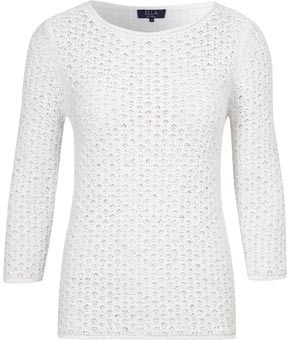 Ella Viyella White Crochet Jumper - neckline: round neck; pattern: plain, holey knit; style: standard; predominant colour: white; occasions: casual; length: standard; fibres: cotton - mix; material texture: denim; fit: standard fit; waist detail: fitted waist; trends: white; sleeve length: 3/4 length; sleeve style: standard; texture group: denim; pattern type: knitted - other; pattern size: standard