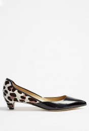 Alice Pointed Court Shoe Dvf - predominant colour: black; material: leather; heel height: mid; embellishment: animal print; heel: kitten; toe: pointed toe; style: courts; pattern: animal print
