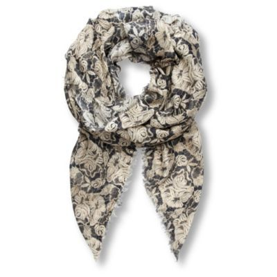 Lace Print Silk Pashmina - predominant colour: charcoal; type of pattern: heavy; style: pashmina; size: large; material: silk; embellishment: fringing; pattern: florals