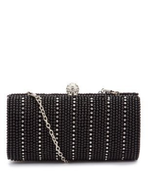 Black Bead Embellished Box Clutch - predominant colour: black; type of pattern: light; style: clutch; length: hand carry; size: small; material: fabric; embellishment: beaded, crystals; pattern: stripes