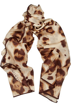 Animal Print Textured Silk Chiffon Scarf - predominant colour: multicoloured; type of pattern: heavy; style: standard; size: standard; material: silk; pattern: animal print