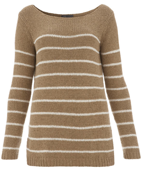 Taupe Striped Jumper - neckline: slash/boat neckline; pattern: horizontal stripes, two-tone; style: standard; predominant colour: camel; occasions: casual; length: standard; fibres: cotton - mix; material texture: jersey; fit: standard fit; hip detail: added detail/embellishment at hip; waist detail: fitted waist; bust detail: contrast pattern/fabric/detail at bust; trends: prints; sleeve length: long sleeve; sleeve style: standard; pattern type: knitted - other; pattern size: standard; texture group: jersey - stretchy/drapey
