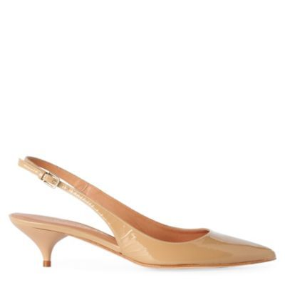 Elfin Slingback Court Shoes - predominant colour: camel; material: patent; heel height: mid; heel: kitten; toe: pointed toe; style: slingbacks; finish: patent